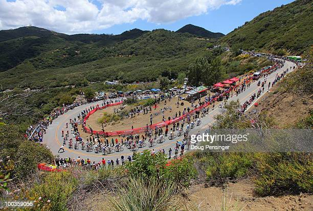 The peloton makes the climb up Mulholland Highway during Stage Eight of the 2010 Tour of California from Thousand Oaks to Westlake Village on May 23...