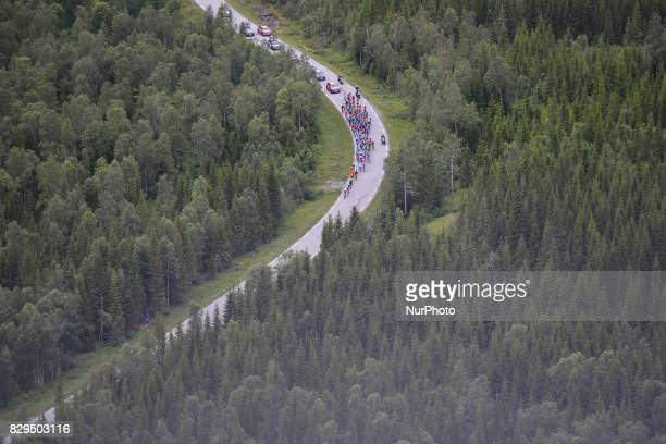 The peloton of riders during the opening stage the 1565km from Engenes to Narvik during the Arctic Race of Norway 2017 On Thursday August 10 in...