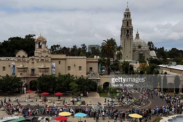 The peloton pass through Balboa Park on the way to the finish of the 2016 Amgen Tour of California on May 15 2016 in San Diego California
