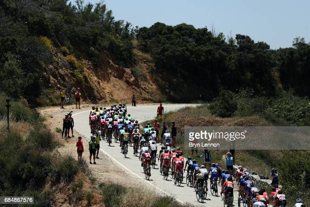 The peloton pass through the California countryside on stage five of the AMGEN Tour of California from Ontario to Mt Baldy on May 18 2017 in Mt Baldy...