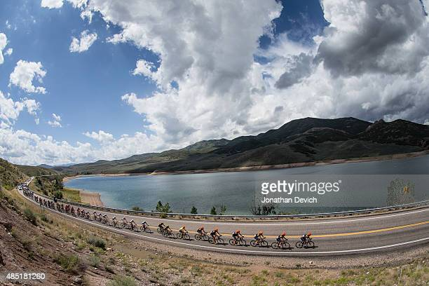 The peloton passes by East Canyon Reservoir during stage 6 of the Tour of Utah on August 8 2015 in Salt Lake City Utah