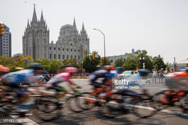 The peloton passes by the Mormon Temple during stage 4 of the 14th Larry H Miller Tour of Utah on August 10 2018 in Salt Lake City Utah