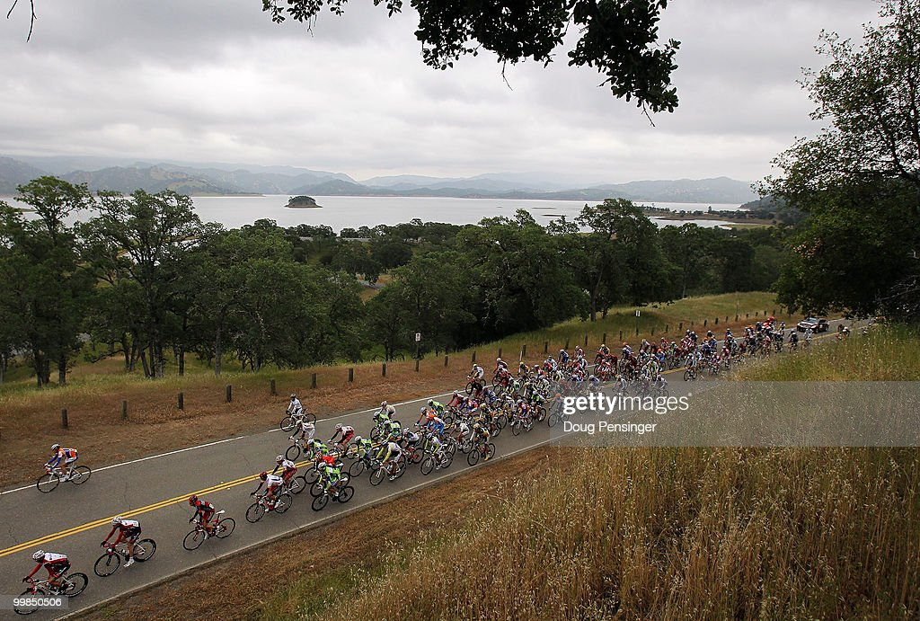 The peloton passes Lake Berryessa during Stage Two of the Tour of California from Davis to Santa Rosa on May 17, 2010 in Napa County, California.