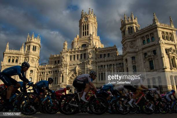 The Peloton passes Madrid Town Hall at Sunset during the 75th Tour of Spain 2020, Stage 18 a 139,6km stage from Hipódromo de la Zarzuela to Madrid on...