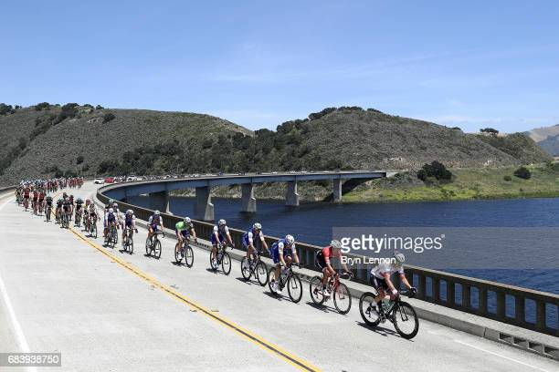 The peloton passes over a bridge on stage 3 of the AMGEN Tour of California from Pismo Beach to Morro Bay on May 16, 2017 in Morro Bay, California.