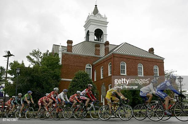 The peloton passes the Court House in Blairsville for the second time during Stage Five of the 2006 Tour de Georgia on April 22 2006 from Blairsville...