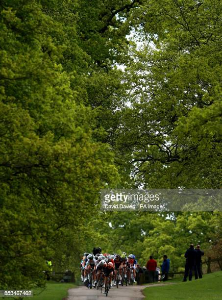 The Peloton passes through Althorp House estate during Stage One of the 2014 Women's Tour Of Britain in Northamptonshire