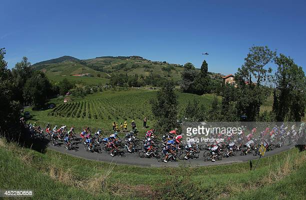 The peloton passes through beaujolais vineyards during the twelfth stage of the 2014 Tour de France, a 186km stage between Bourg-en-Bresse and...