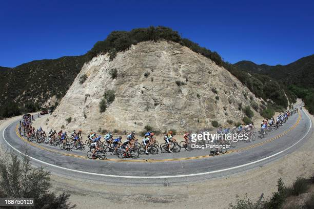 The peloton passes through Bouquet Canyon during Stage Three of the 2013 Amgen Tour of California from Palmdale to Santa Clarita on May 14 2013 in...