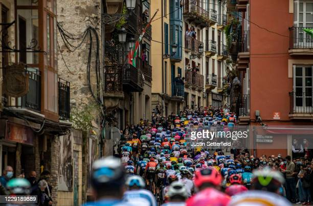 The Peloton passes through Irun City during the 75th Tour of Spain 2020 La Vuelta, Stage 1 a 173km stage from Irun to Eibar - Alto de Arrate on...