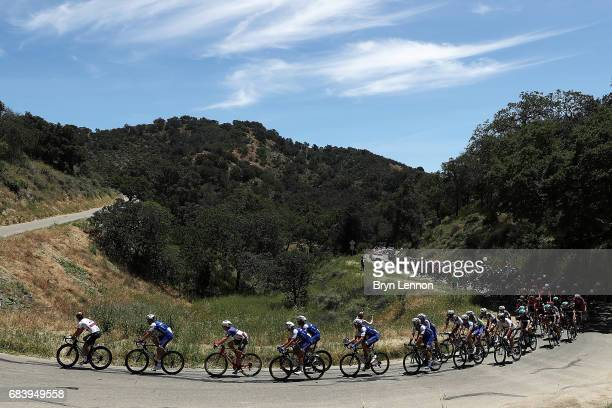The peloton passes through the California countryside on stage 3 of the AMGEN Tour of California from Pismo Beach to Morro Bay on May 16, 2017 in...