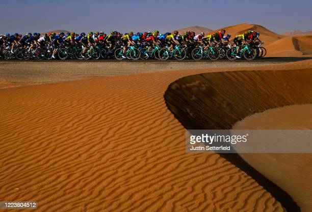 The peloton passes through the desert during the 5th UAE Tour 2019, Stage 3 a 179km stage from Al Ain to Jebel Hafeet 1024m on February 26, 2019 in...