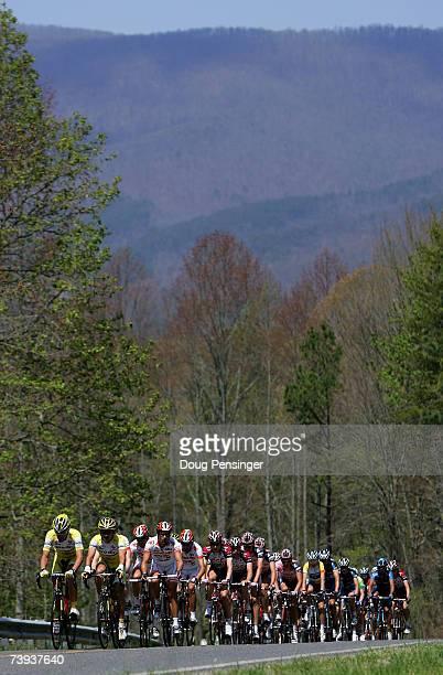 The peloton passes through the north Georgia mountains during Stage Five of the Tour de Georgia on April 20 2007 from Dalton to Brasstown Bald...