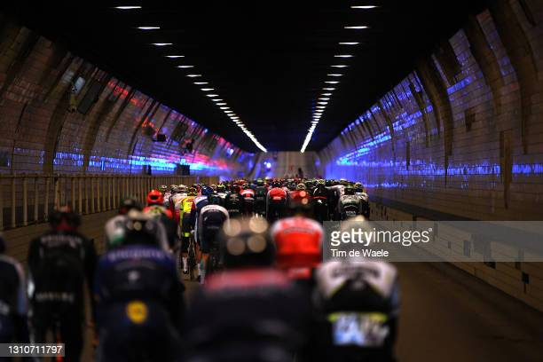The Peloton passing through a Antwerp City Tunnel during the 105th Ronde van Vlaanderen - Tour of Flanders 2021, Men's Elite a 251,5km race from...
