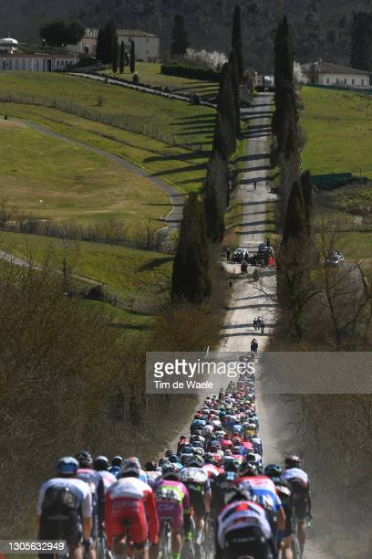 The Peloton passing through a gravel strokes sector during the Eroica - 15th Strade Bianche 2021, Men's Elite a 184km race from Siena to Siena -...