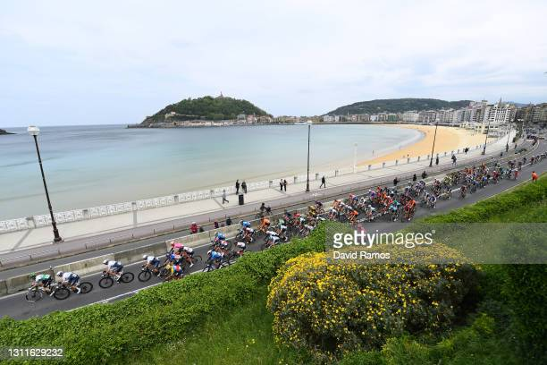 The Peloton passing through Hondarribia beach during the 60th Itzulia-Vuelta Ciclista Pais Vasco 2021, Stage 5 a 160,2km stage from Hondarribia to...
