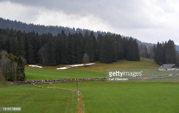The Peloton passing through Les Bugnenets during the 74th Tour De Romandie 2021, Stage 2 a 165,7km stage from La Neuveville to Saint-Imier / #TDR2021...