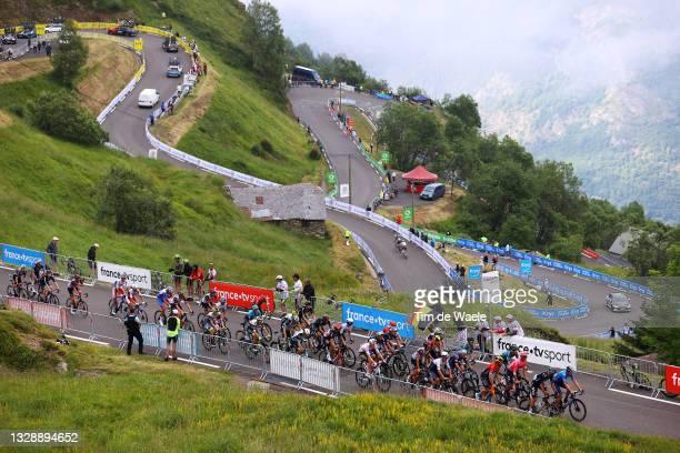 The Peloton passing through Luz Ardiden during the 108th Tour de France 2021, Stage 18 a 129,7km stage from Pau to Luz Ardiden 1715m / Landscape /...