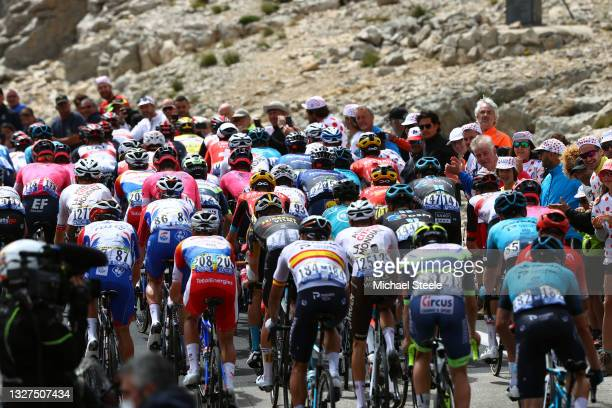 The peloton passing through Mont Ventoux mountain landscape during the 108th Tour de France 2021, Stage 11 a 198,9km km stage from Sorgues to...