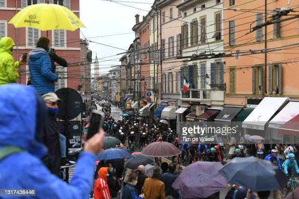 The Peloton passing through Parma City during the 104th Giro d'Italia 2021, Stage 4 a 187km stage from Piacenza to Sestola 1020m / Public / Fans /...
