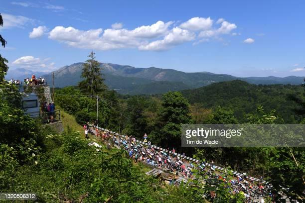 The peloton passing through Passo della Colma landscape during the 104th Giro d'Italia 2021, Stage 19 a 166km stage from Abbiategrasso to Alpe di...