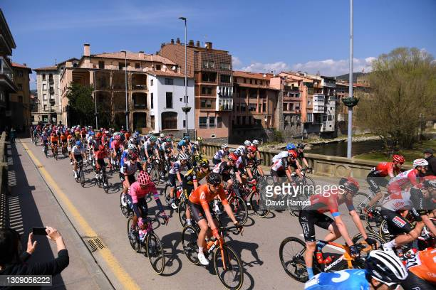 The Peloton passing through Ripoll Village during the 100th Volta Ciclista a Catalunya 2021, Stage 4 a 166,5km stage from Ripoll to Port Ainé 1955m -...