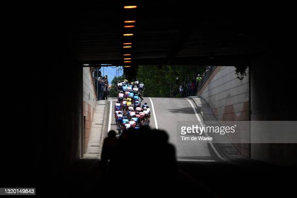 The peloton passing through tunnel landscape during the 104th Giro d'Italia 2021, Stage 17 a 193km stage from Canazei to Sega di Ala 1246m / Detail...