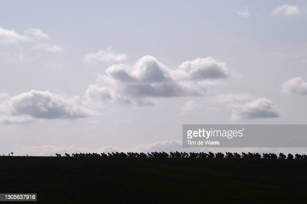 The Peloton passing through Tuscany landscape during the Eroica - 15th Strade Bianche 2021, Men's Elite a 184km race from Siena to Siena - Piazza del...