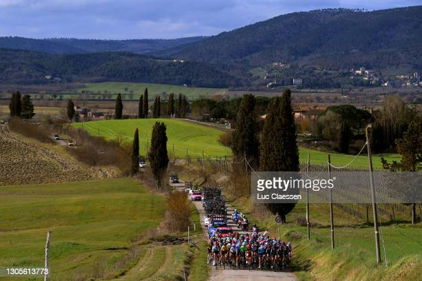 The Peloton passing through Tuscany landscape during the Eroica - 7th Strade Bianche 2021, Women's Elite a 136km race from Siena to Siena - Piazza...