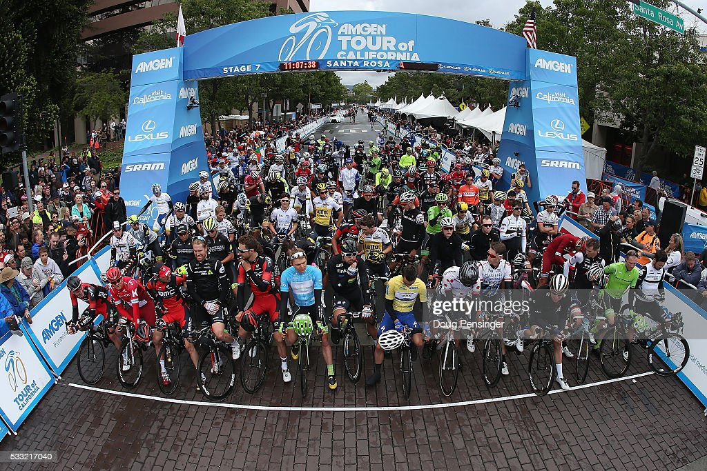 The peloton prepares for the start of stage seven of the 2016 Amgen Tour of California on May 21, 2016 in Santa Rosa, California.