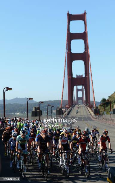The peloton races over the Golden Gate Bridge during Stage Eight of the Amgen Tour of California on May 19 2013 in San Francisco California