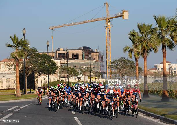 The peloton ride around 'The Pearl' on stage one of the 2016 Ladies Tour of Qatar from Qatar University to Qatar University on February 2 2016 in...