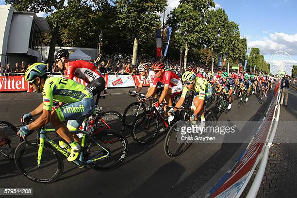 The peloton ride away from The Arc de Triomph during stage twenty one of the 2016 Le Tour de France from Chantilly to Paris ChampsElysees on July 24...