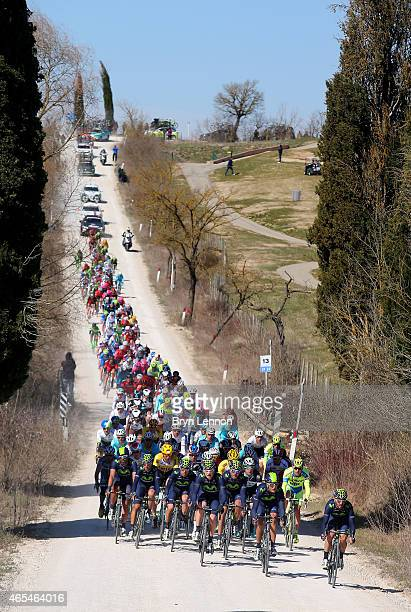 The peloton ride during the 2015 Strade Bianche from to San Gimignano to Siena ll Campo on March 7, 2015 in Siena, Italy.