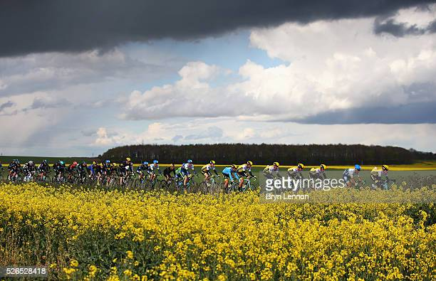 The peloton ride during the second stage of the 2016 Tour de Yorkshire between Otley and Doncaster on April 30 2016 in Doncaster England