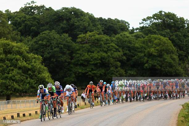 The peloton ride through Richmond Park during the London Surrey Classic from the Queen Elizabeth Olympic Park to The Mall on August 4 2013 in London...