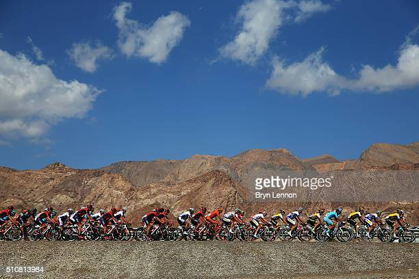 The peloton ride through the Oman countryside during stage two of the 2016 Tour of Oman a 162km stage from Omantel Head Office to Quriyat on February...