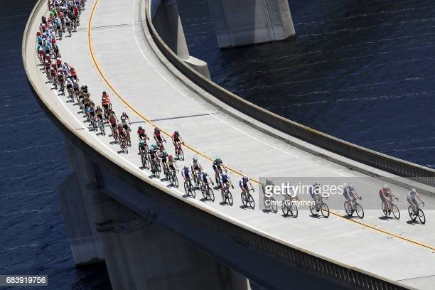 The peloton rides across Twitchell Resivoir during stage 3 of the AMGEN Tour of California from Pimo Beach to Morro Bay on May 16 2017 in Morro Bay...