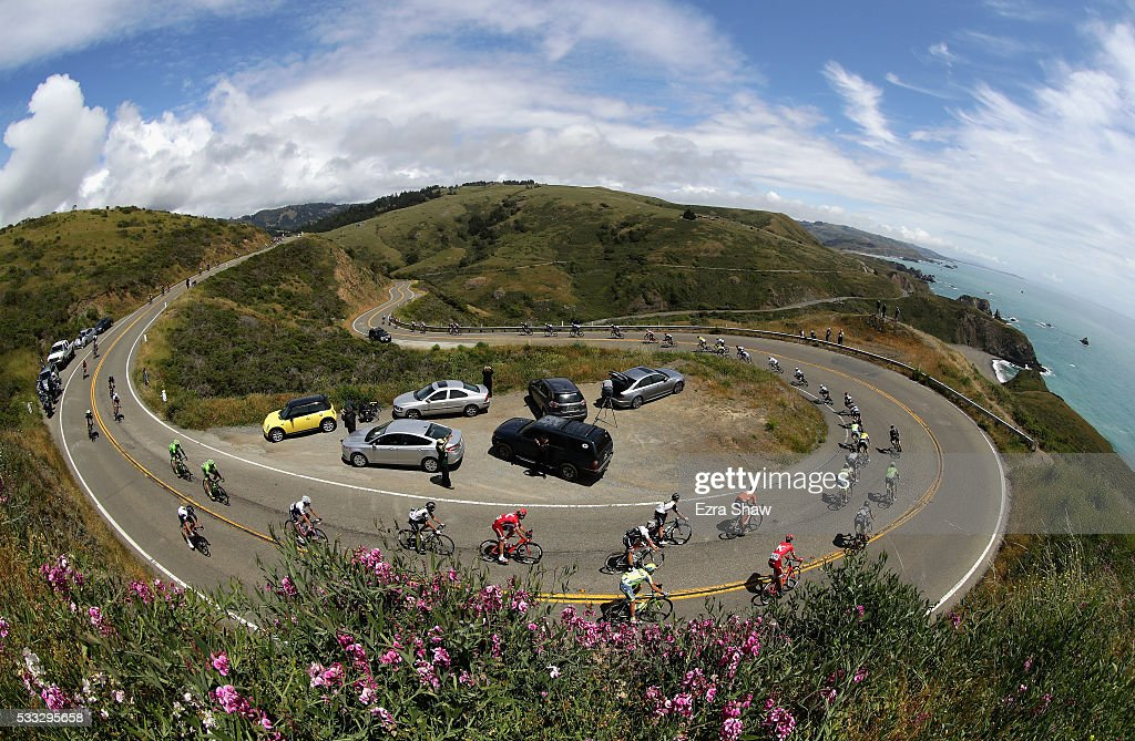 The peloton rides along Highway 1 during Stage 7 of the Amgen Tour of California on May 21, 2016 in Santa Rosa, California.
