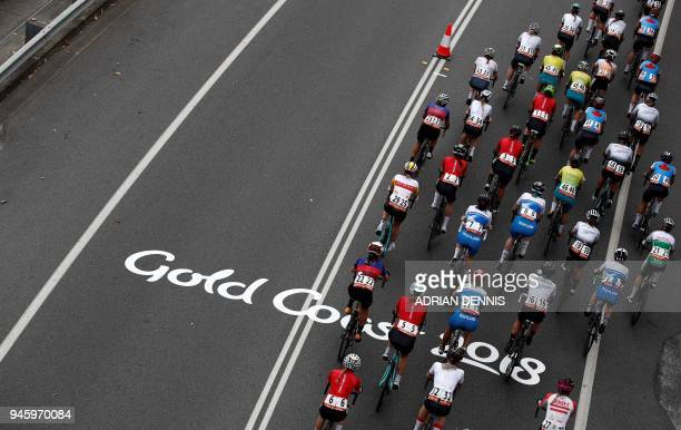 The peloton rides along the coastline during the women's cycling road race event during the 2018 Gold Coast Commonwealth Games at the Currumbin...