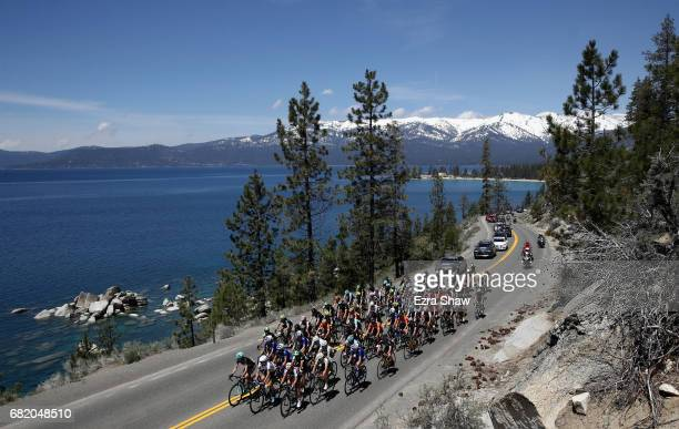 The peloton rides around Lake Tahoe during Stage 1 of the Amgen Breakaway From Heart Disease Women's Race empowered with SRAM on May 11, 2017 in Lake...