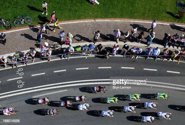 The peloton rides during stage one of the 2013 Giro d'Italia on May 4 2013 in Naples Italy
