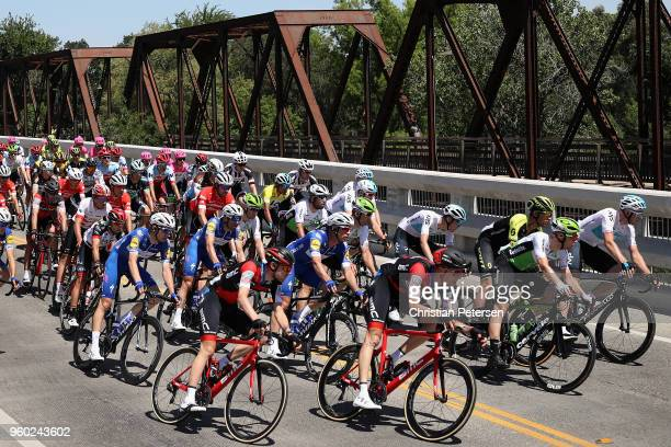 The peloton rides during stage seven of the 13th Amgen Tour of California a 143km stage in Sacramento on May 19 2018 in Sacramento California