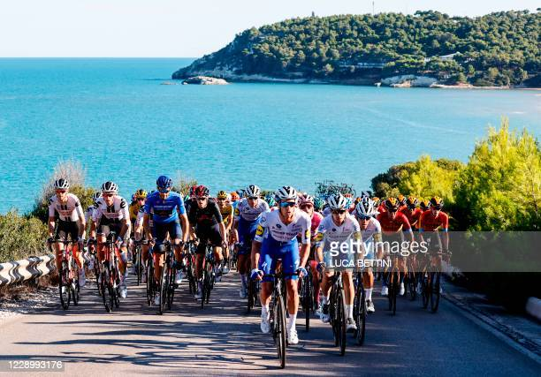 The peloton rides during the 8th stage of the Giro d'Italia 2020 cycling race, a 200-kilometer route between Giovinazzo and Vieste on October 10,...
