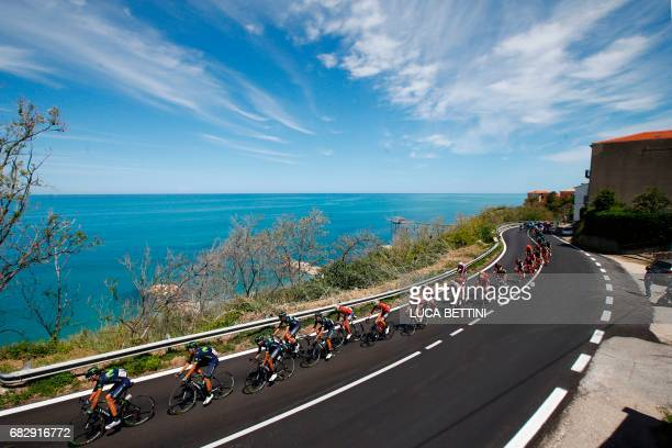 The peloton rides during the 9th stage of the 100th Giro d'Italia Tour of Italy cycling race from Montenero di Bisaccia to Blockhaus on May 14 2017 /...