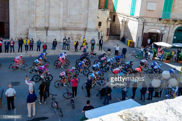 The peloton rides in Molfetta Italy on 10 October 2020 during the 8th stage of the Giro d'Italia 2020 cycling race a 200kilometer route between...