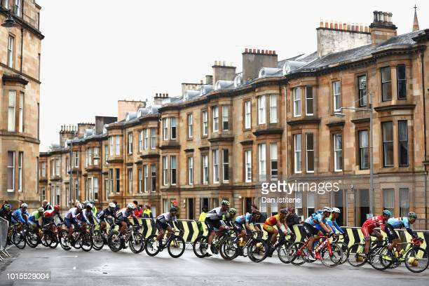 The Peloton rides in the Men's Road Race during the road cycling on Day Eleven of the European Championships Glasgow 2018 at on August 12 2018 in...