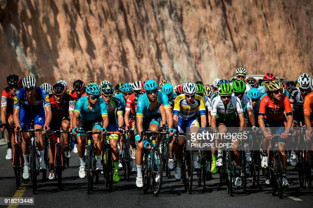 TOPSHOT The peloton rides near the Omani capital Muscat during the second stage of the 2018 cycling Tour of Oman from Sultan Qaboos University to...