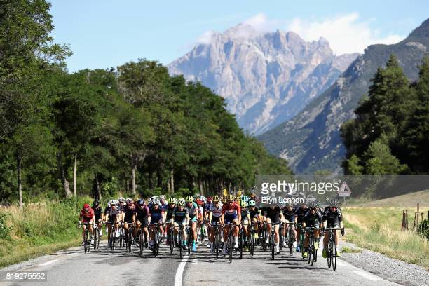 The peloton rides on the first stage of the 4th La Course by Tour de France a 675km stage from Briancon to Izoard on July 20 2017 in Briancon France