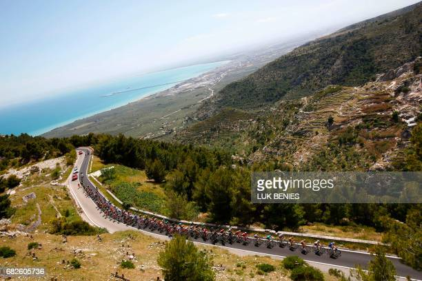 The peloton rides on the Monte Sant'Angelo during the 8th stage of the 100th Giro d'Italia Tour of Italy cycling race from Molfetta to Peschici on...